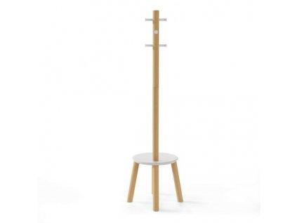 Věšák a stolek Pillar bílý/natural