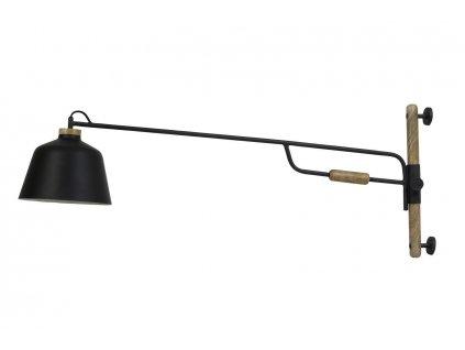 Nástěnná lampa Banu černá dřevo