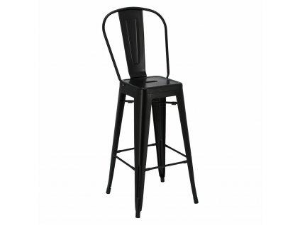 Barová židle Paris Back 75cm černá insp.Tolix
