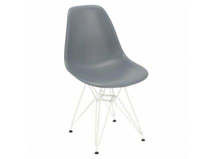 Židle P016 PP bílá tmavě šedá