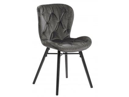 Židle Batilda Vic tmavě šedá/prošívaná