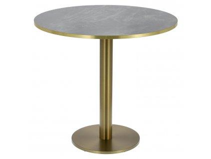 Stůl kulatý Corby II 80cm HPL tmavý mramor/zlatý okraj