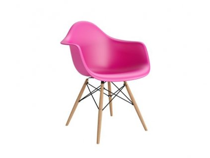 Židle P018V PP tmavě růžová, dřevěné nohy HF