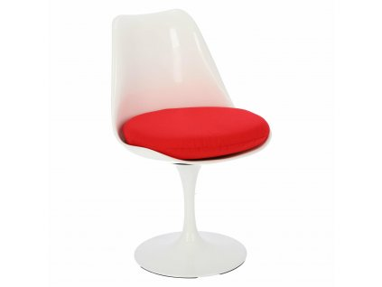 Židle Tul bílá/červený polštář