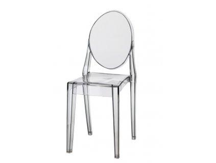 Židle Viki šedá transparentní