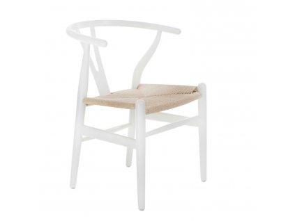 Židle Wicker přírodní bílá inspirovaná Wishbone