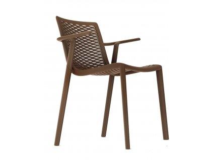 Židle Netkat s područkami čokoládová