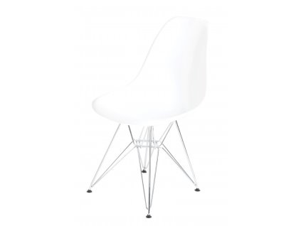 Židle P016 PP bílá, chromované nohy