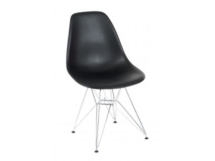 Židle P016 PP černá, chromované nohy