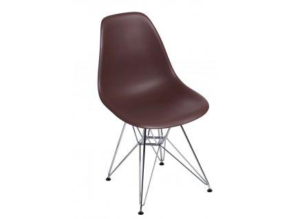 Židle P016 PP hnědá, chromované nohy