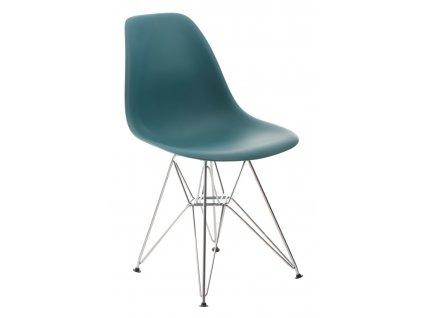 Židle P016 PP námořní zeleň, chromované nohy