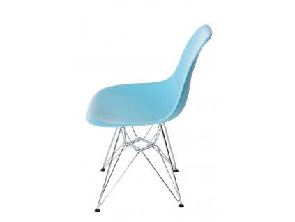 Židle P016 PP oceánská modř, chromované nohy