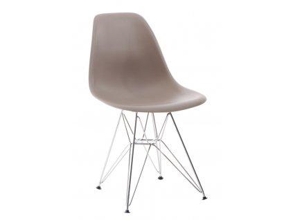 Židle P016 PP světle šedá, chromované nohy