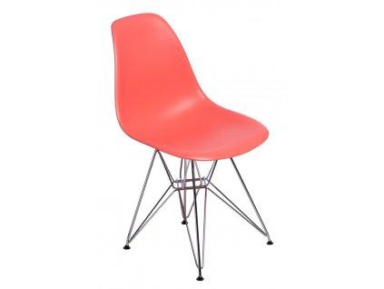 Židle P016 PP tmavě broskvová, chromované nohy