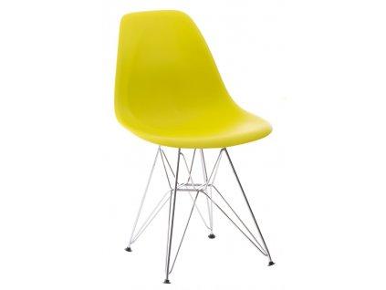 Židle P016 PP tmavě olivová, chromované nohy