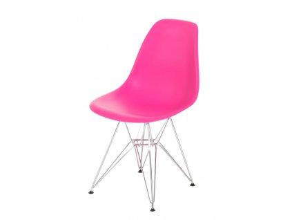Židle P016 PP tmavě růžová, chromované nohy
