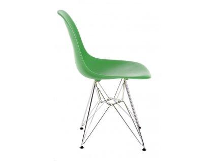 Židle P016 PP tmavě zelená, chromované nohy
