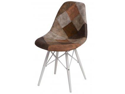 Židle P016V Patchwork béžová - hnědá/bílá
