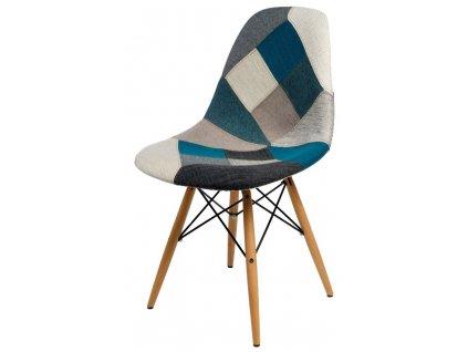 Židle P016V patchwork modro-šedá dřevo