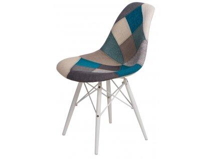 Židle P016V Patchwork modro-šedá/bílá