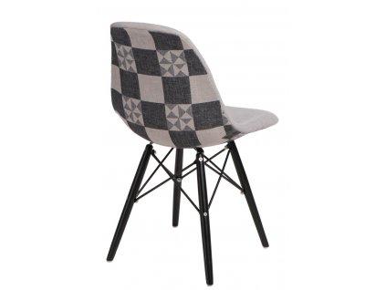 Židle P016V Pattern šedá-patchwork/černá