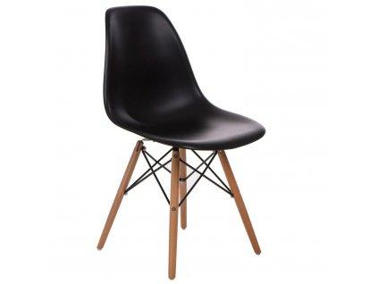 Židle P016V PP černá, dřevěné nohy