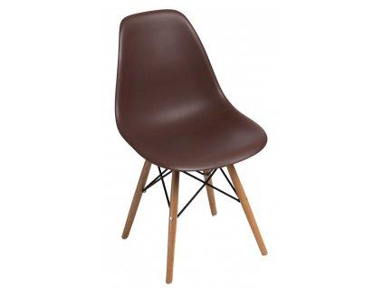 Židle P016V PP hnědá, dřevěné nohy