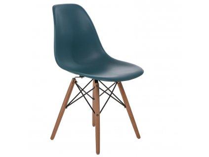 Židle P016V PP námořní zeleň, dřevěné nohy