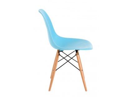 Židle P016V PP oceánská modř, dřevěné nohy