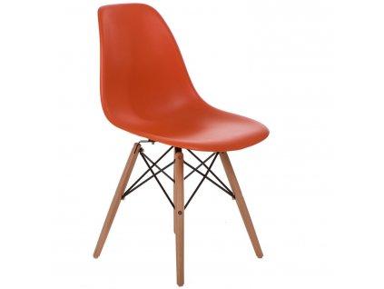Židle P016V PP oranžová, dřevěné nohy