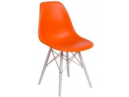 Židle P016V PP oranžová/bílá
