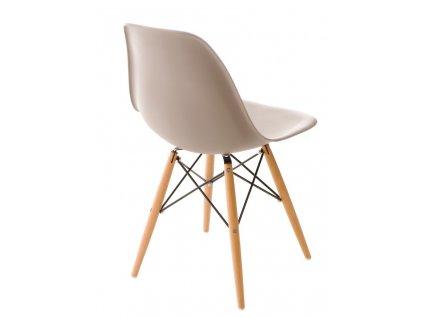 Židle P016V PP světle šedá, dřevěné nohy