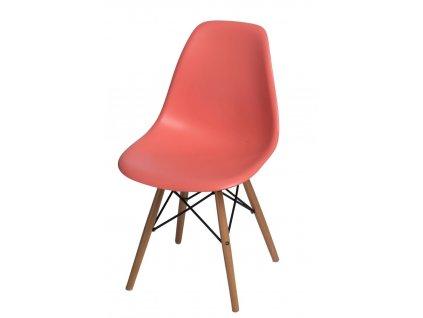 Židle P016V PP tmavě broskvová, dřevěné nohy