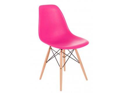 Židle P016V PP tmavě růžová, dřevěné nohy