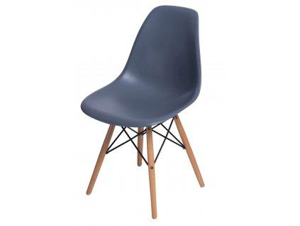 Židle P016V PP tmavě šedá, dřevěné nohy