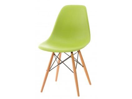 Židle P016V PP zelená, dřevěné nohy