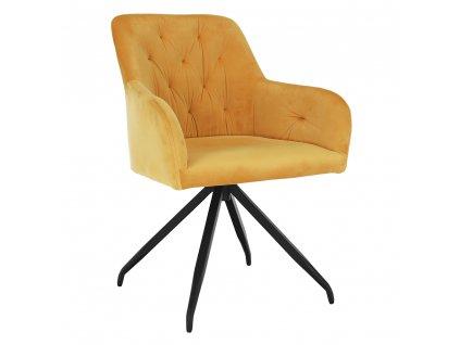 Otočná židle, hořčicová Velvet látka/černá, VELEZA