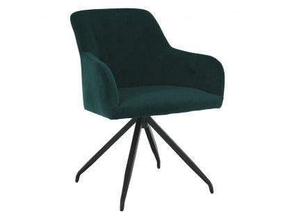 Otočná židle, zelená Velvet látka/černá, VELEZA