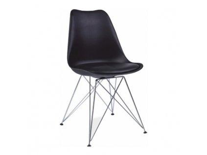 Židle, černá/chrom, METAL 2 NEW