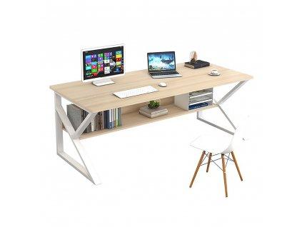 Psací stůl, s policí, dub přírodní / bílá, TARCAL 100
