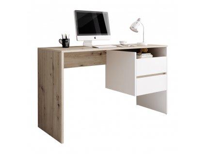 PC stůl, dub artisan/bílý mat, TULIO