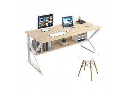 Psací stůl, s policí, dub přírodní / bílá, TARCAL 80