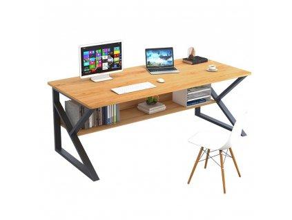 Psací stůl, s policí, buk / černá, TARCAL 140