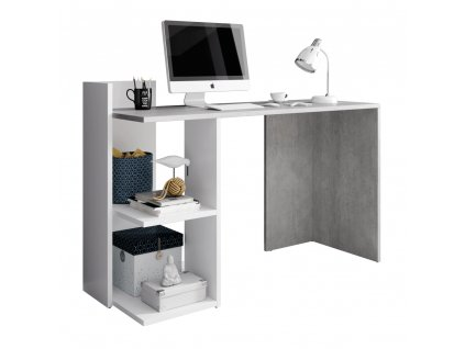 PC stůl, beton/bílý mat, ANDREO