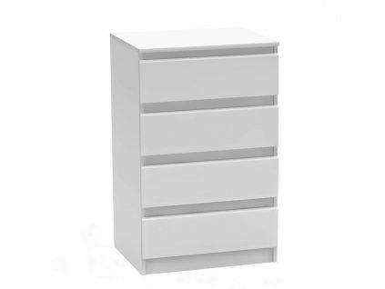 4 šuplíková komoda, bílá, HANY NEW 014
