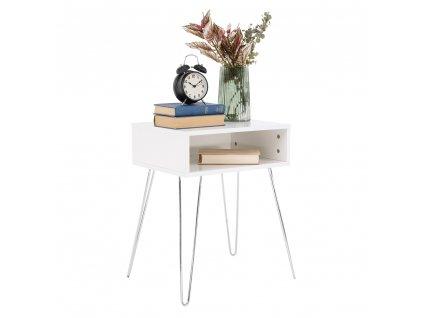 Příruční/noční stolek, bílá/chrom, LAMAJ