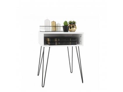 Příruční/noční stolek, bílá/černá, HONEJ
