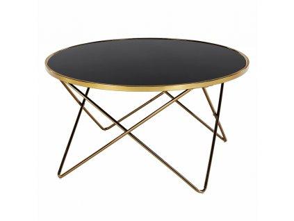 Konferenční stolek, gold chrom zlatá/černá, ROSALO