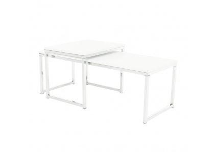Set 2 konferenčních stolků, bílá matná / chrom, MAGNO TYP 2