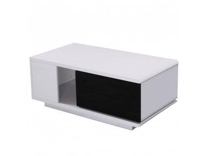 Konferenční stolek, bílá / černá HG, DEMBA NEW